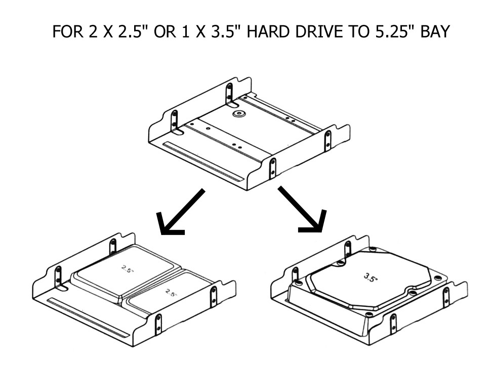 "5.25"" HDD Mounting Bracket for 2x2.5"" or 1x3.5"" HDD/SSD 5.25"" Tray"