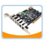 BT-PCI-U2FW  4 Ext. + 1 Int. USB 2.0 Ports + 2 Ext. + 1 Int. Firewire 400/1394A Ports PCI Card