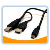 "USB2-HD201  USB 2.0 Y cable, A male x 2 to Mini B 5pin male x1, for 2.5"" Enclosure or USB2.0 Hub"