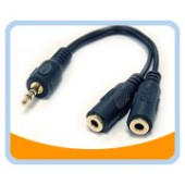 SPC-M2F  3.5mm STEREO Speaker EXTENSION Cable -1 Male to 2 Female, Black Jacket