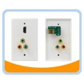 HM-RGB3 HDMI® Wallplate, 1 Port w/ RCA 3x (RGB)