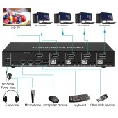 BYTECC KVM-DP401K  4X1 DP1.2 & USB2.0 KVM SWITCH 4K2K SUPPORT DP++